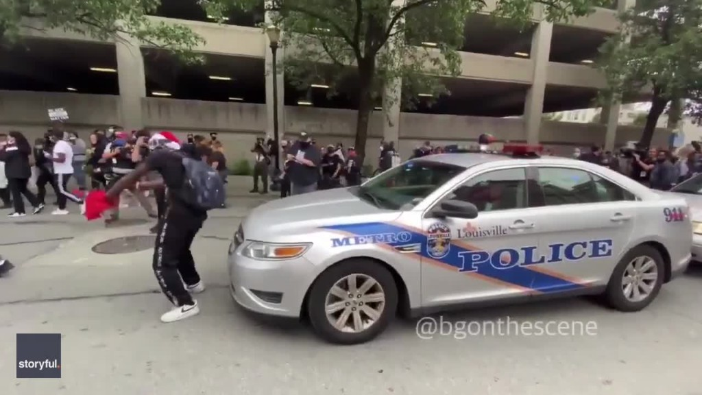 Protesters Dance in Front of Police Car During Breonna Taylor Protest in Louisville