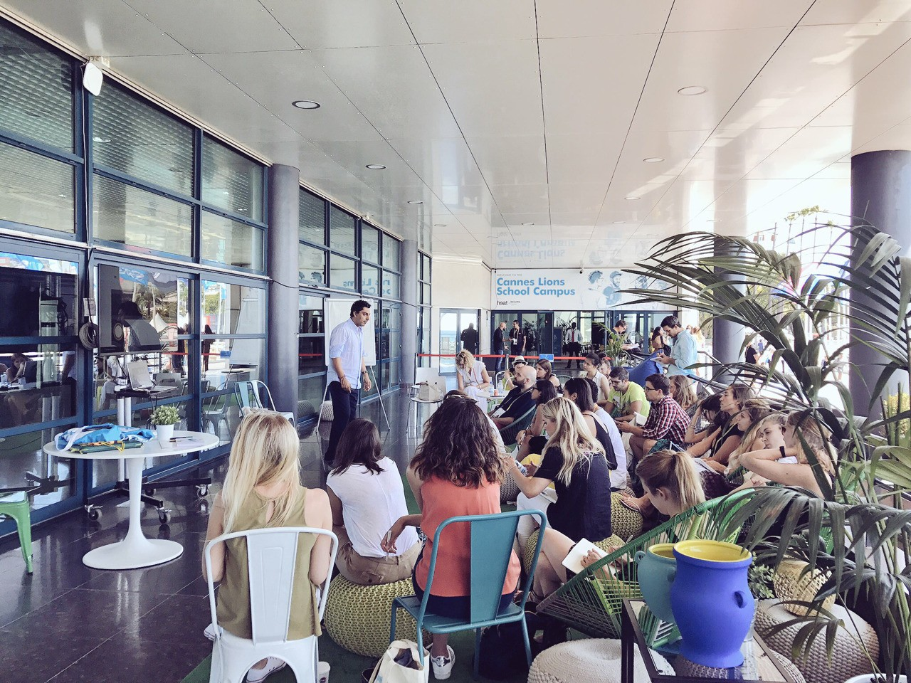 Young Marketers session on Creative Effectiveness out on the terrace at Cannes.