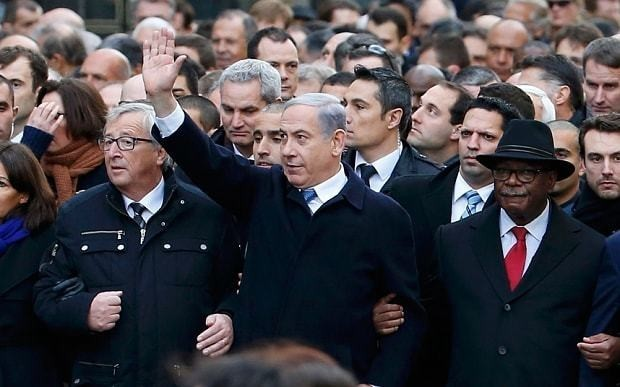 Benjamin Netanyahu ridiculed over appearance at Paris solidarity march