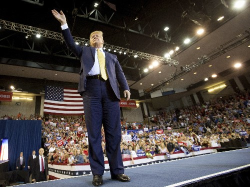 The Latest: Trump calls Little Leaguers to stage at rally