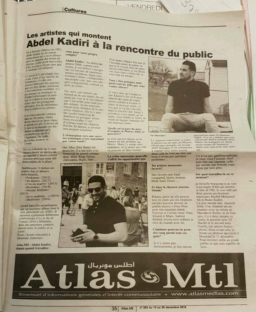 Artiste Abdel Kadiri - Magazine cover