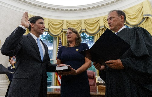Esper is sworn in as defense secretary to succeed Mattis