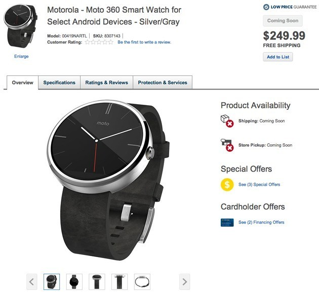 Best Buy Briefly Lists The Moto 360 Smart Watch For $249