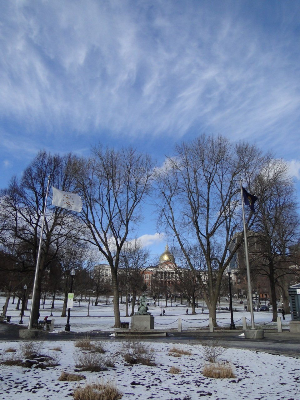 Beautiful cloud under the blue sky after a snowy storm.