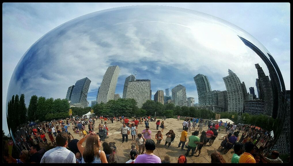 reflection of a city... (The Cloud Gate, Chicago, IL c.July2016)