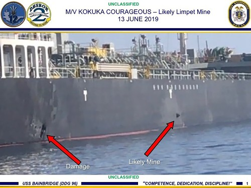 US says video shows Iran removing mine from stricken tanker