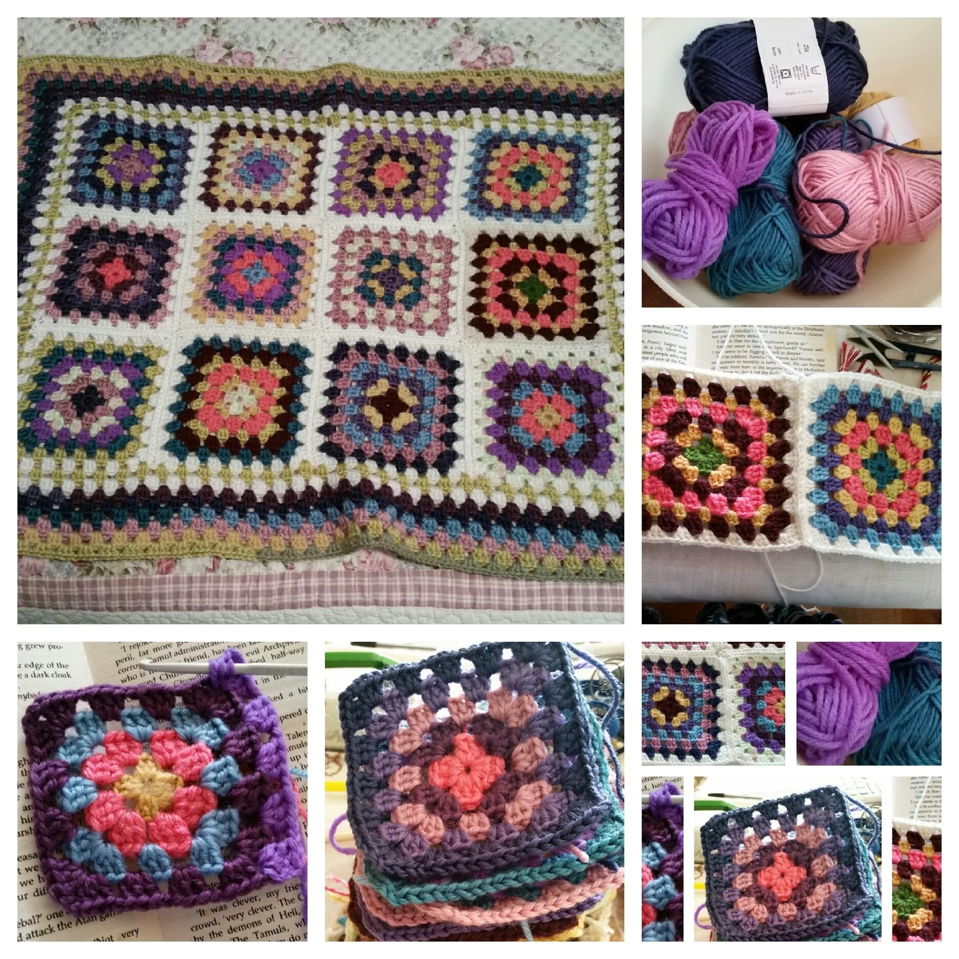 Granny square lap rug.