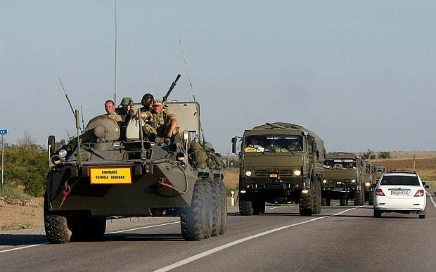 Ukraine 'destroys parts of convoy of Russian military vehicles'