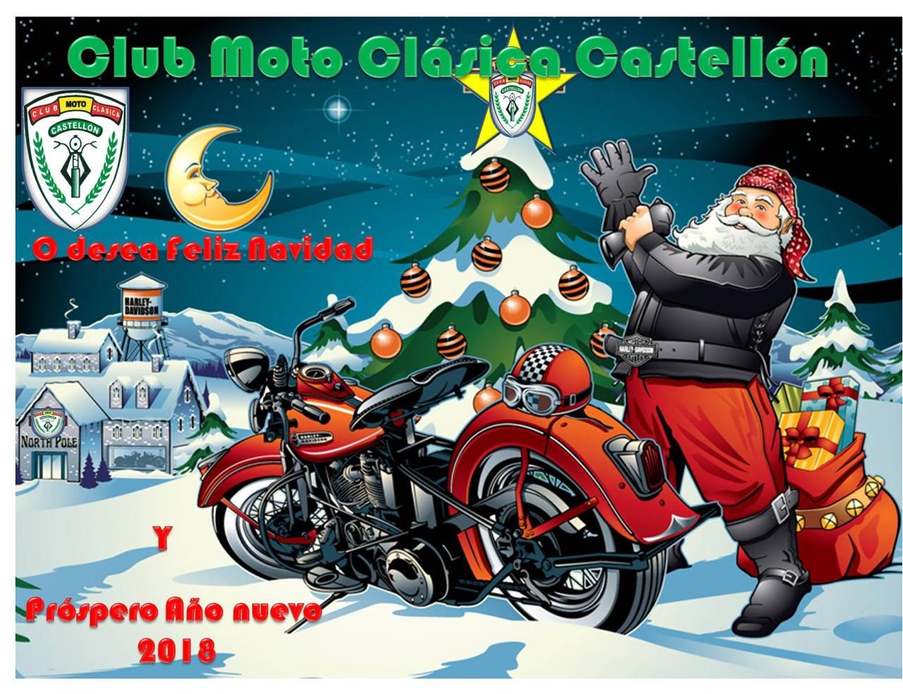 Club Moto Clásica Castellón te desea feliz Navidad y próspero año nuevo 2018