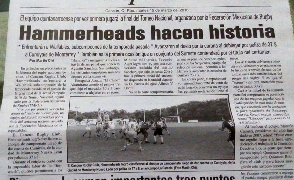 Cancun Hammerheads Rugby Club beat Cumiyais Rugby Club by 37 - 8 and make it to the FMRU Campeonato Nacional Finale 2015/16 #cancunhammerheads #fmru #cumiyaisrugby