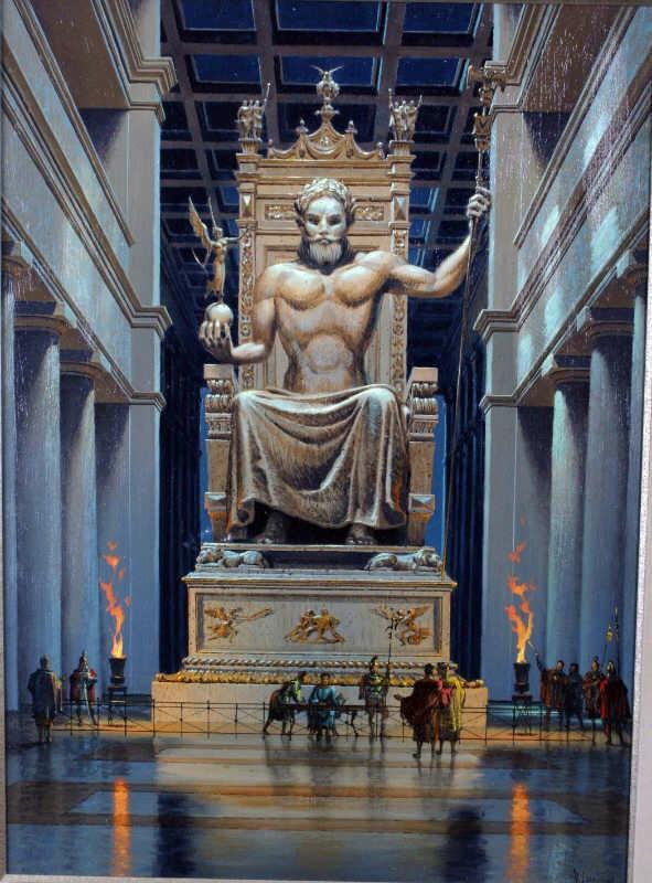 تمثال زوس : زيوس هو كبير آلهة الإغريق القدماء، وأحد شخصيات الأساطير الإغريقية الشهيرة التي حظيت بإجلال وتقدير الشعب الإغريقي وذلك لقوته التي يمتع بها وبطولته وشجاعته، بحسب ما جاء في إحدى الأساطير التي تروي أنه أصغر أبناء إثنين من الآلهة الجبابرة، وهما كرونوس وريا، بينما كان بقية اخوته بوزيدون، هيرا (التي تزوجها فيما بعد)، ديمتر، وهيسيتا في عداد الأموات لأن أباهم كرونوس ابتلعهم فور ولادتهم ماعدا زيوس، الذي استطاعت أمه انقاذه عندما خبأته في جزيرة كريت التي نشأ وترعرع بها. وعندما كبر أجبر والده كرونوس على إرجاع اخوته الذين ابتلعهم، وعندما فعل الأب ذلك اتحد الإخوة جميعا بزعامة زيوس للانتقام من الأب الذي تحالف مع آلهة آخرى. ولقد استطاع زيوس وإخوته تحقيق النصر والقضاء على الجبابرة، وأصبح ملكا على السماء، وصاحب الفضلية والكلمة العليا بين جميع الآلهة. وتخليدًا وتمجيدًا لذلك الإله قرر مجلس الأولمبيا بناء تمثال ضخم للإله زيوس عام 438 ق.م، حيث عهد للنحات اليوناني الشهير فيدياس بنحت التمثال الذي بلغ ارتفاعه فوق القاعدة أكثر من 13 مترا، بينما بلغ ارتفاع القاعدة حوالي 6 أمتار. وتم صنع جسد التمثال من العاج، بينما صنعت العباءة التي يرتديها زيوس في التمثال من الذهب الخالص، أما القاعدة فكانت من الرخام الأسود، وتعد الأثر الوحيد المتبقي من أجزاء التمثال.