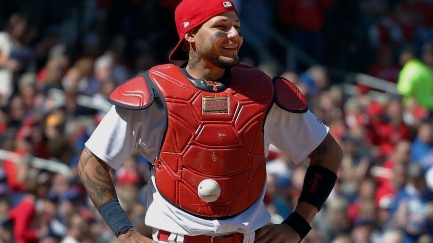 Ball that stuck to Yadi's chest protector sells for $2,015