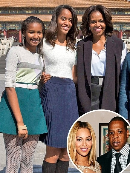 Michelle Obama & Daughters Attend Beyoncé & Jay Z Concert in Chicago