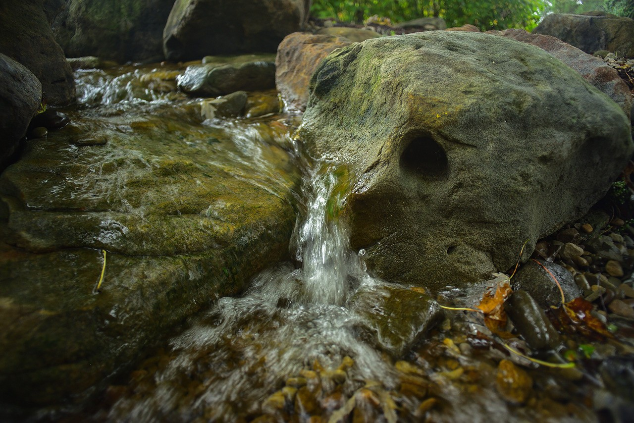 Closeup of natural style small waterfall, installed by Aquatic Edge in Latrobe PA