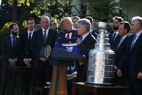 Cup champion Blues visit Trump at White House as full team