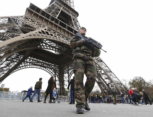 Soldiers on Patrol in the Streets of Paris: Pictures