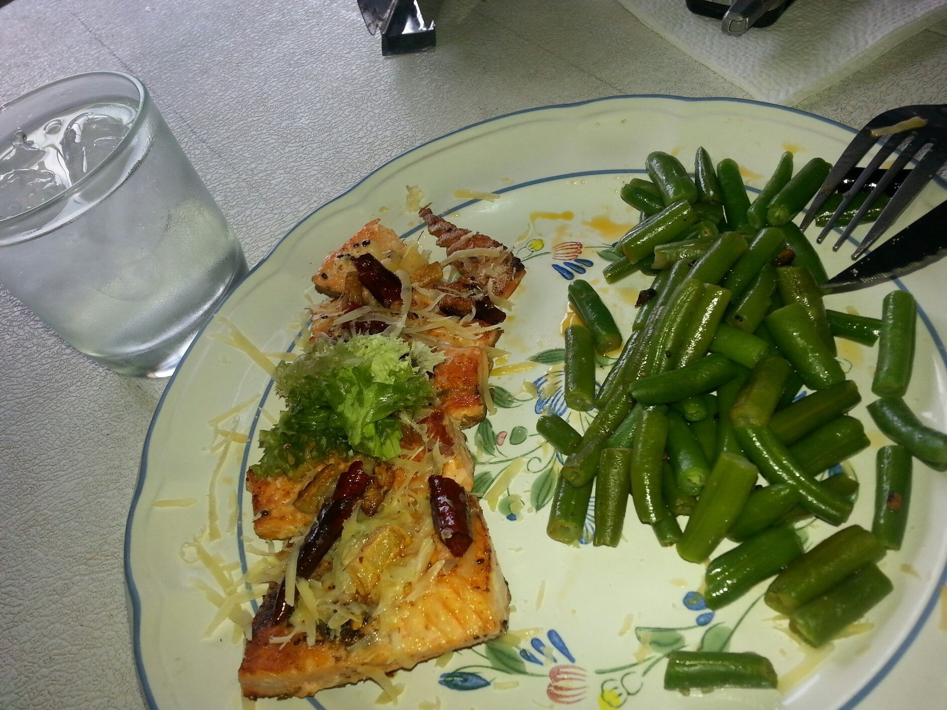 salmon with parmesan and chili side beans