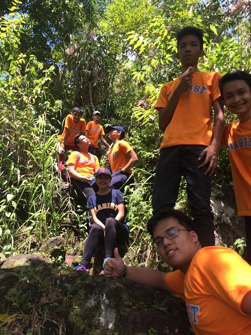 SLR RISING UP TO THE CHALLENGE! Saint Lorenzo Ruiz together with Ma'am Ching are climbing Mt. Banahaw during their Outbound trip in Dolores Quezon on Sept. 23,2016.