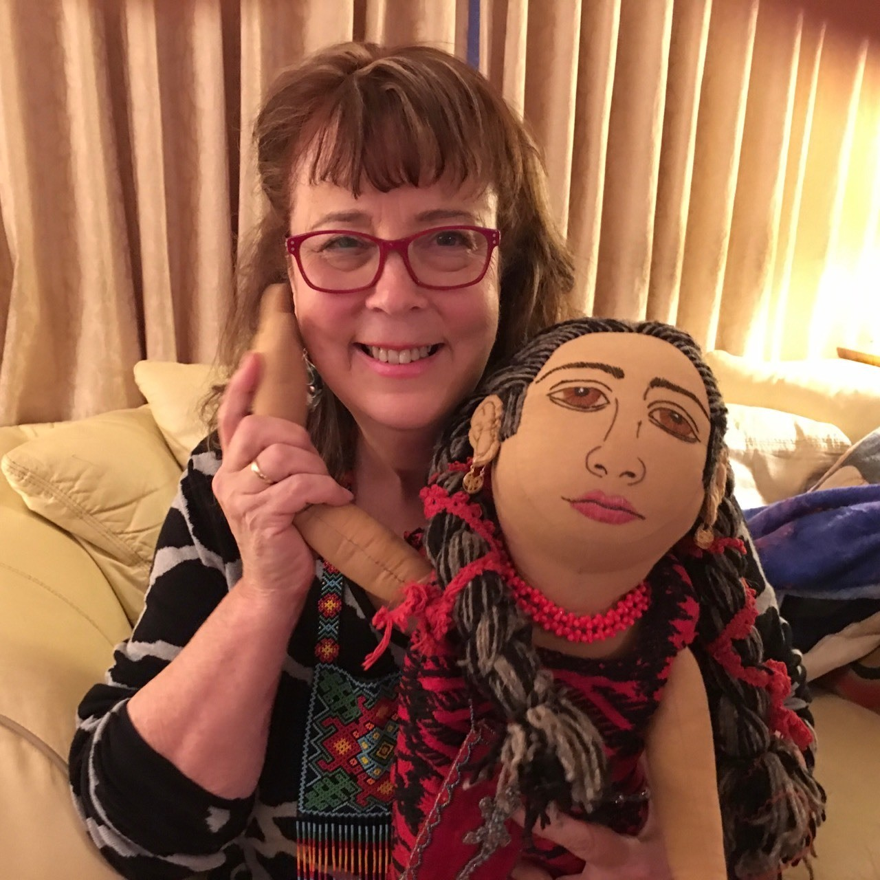 My sister, the artist Cheryl Renee along, gifted me with this fabulous handmade doll she commissioned from an artist in Tenochitlan, Mexico.
