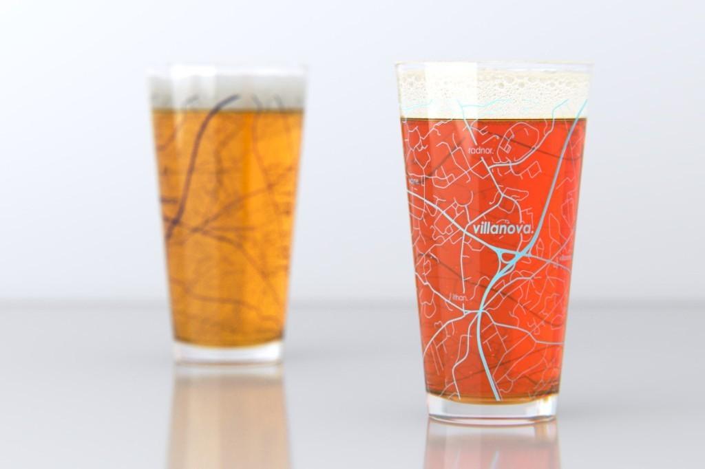 Villanova, PA - Villanova University - College Town Pint Map Glasses