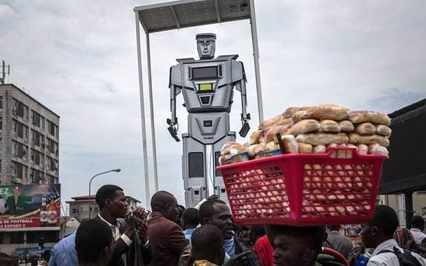 Robocops being used as traffic police in Congo
