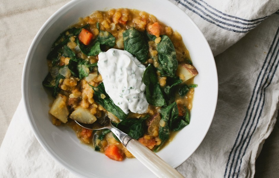 Red Lentil and Vegetable Soup with Chive Yogurt