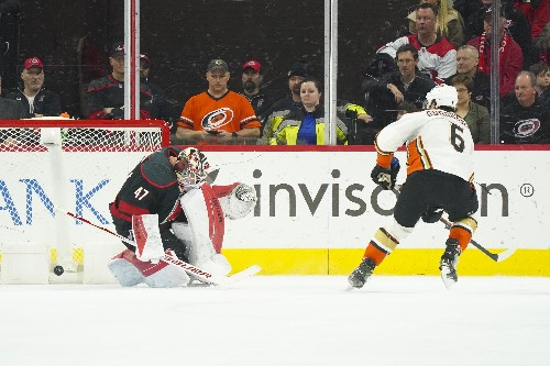 Ducks steal one on road in OT over Hurricanes