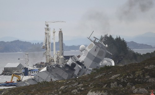 Norwegian frigate is rammed by tanker in harbor, could sink