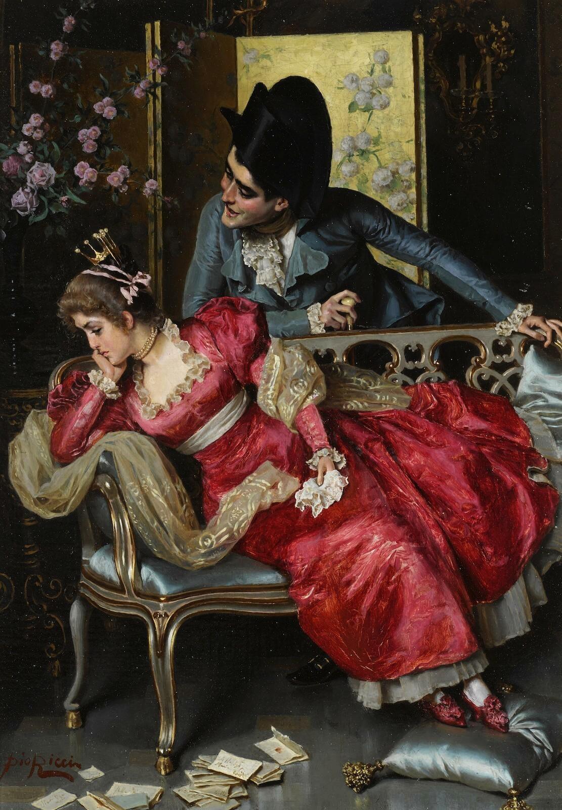 वो तोहमत जिसे इश्क़ कहती है दुनिया वो तोहमत उठाने को जी चाहता है .....साहिर लुधियानवी तोहमत : झूठा आरोप ; false alligation Here meaning : unnecessary botheration 'A lovers' quarrel', 1908 Painting by Pio Ricci, Italian, 1850 - 1919