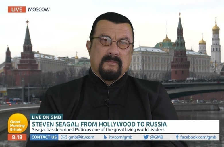"""Steven Seagal villain Steven Seagal calls NFL protests """"disgusting"""" live from the Kremlin"""