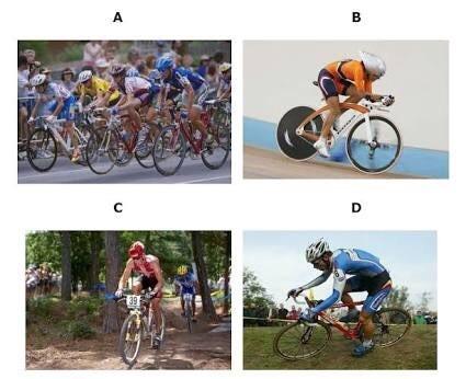 [Imágenes integradas 1] El ciclismo es un deporte en el que se utiliza una bicicleta ya sea de ruta o montaña para recorrer circuitos al aire libre, en pista cubierta o en diferentes tipos de ambiente. Tipos de ciclismo Ciclismo de ruta: se caracteriza por diputarse sobre asfalto con bicicletas de ruta. Ciclismo en pista: se caracteriza por diputarse en un velodromo y con bicicletas de pista que son bicicleta de carreras modificadas. Ciclismo de montaña:se disputa en lugares de montaña o rocas con bicicletas de montaña. Trial: es una modalidad de ciclismo derivada de los triales de motocicletas, el piloto debe salvar los obstaculos tratando de realizar el minimo número de apoyos con los pies. Bmx: es un deporte extremo que debe ser practicado con seguridad, la bicicleta debe estar en buenas condiciones,en la actualidad hay parques para este deporte , casi siempre la gente la conoce para hacer trucos en la bicicleta .