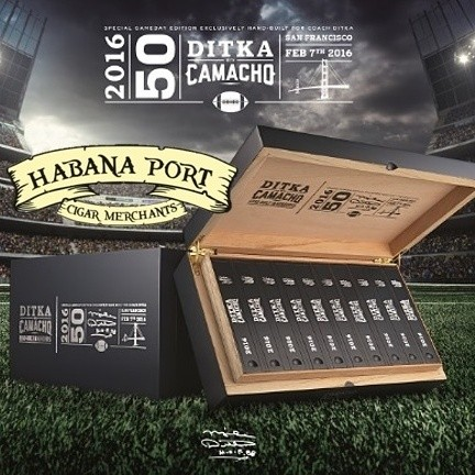 The Mike Ditka Super Bowl 50 cigar by Camacho is limited to a small run of 10k sticks. Packed in numbered coffins. Nicaraguan wrapper, Brazilian Mata Fina binder. www.habanaport.com