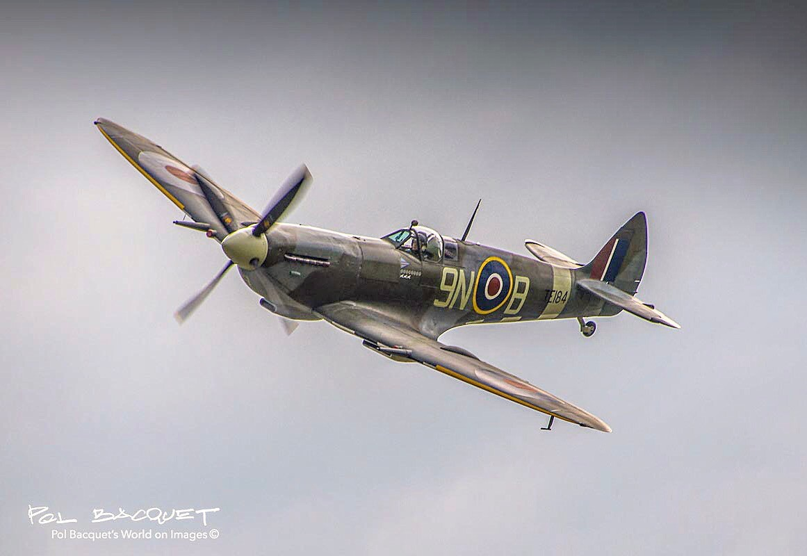 A Supermarine Spitfire after take off from Airport Albert-Picardie in France. Photo by Pol Bacquet