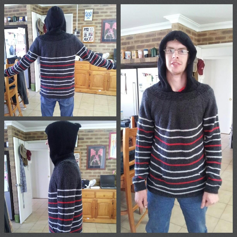 Hooded striped jumper.