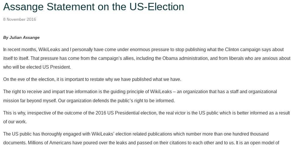 WikiLeaks: Assange Statement on U.S. Election