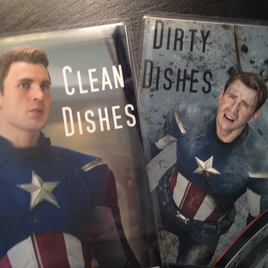 """Captain America Reversible Magnetic Dishwasher Sign 