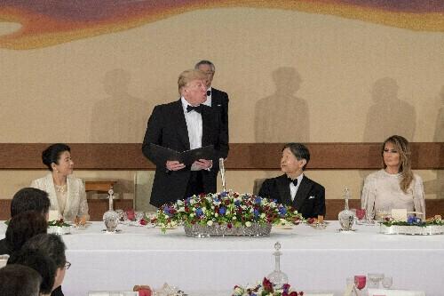 The Latest: Trump enjoys 6-course dinner at Japan palace