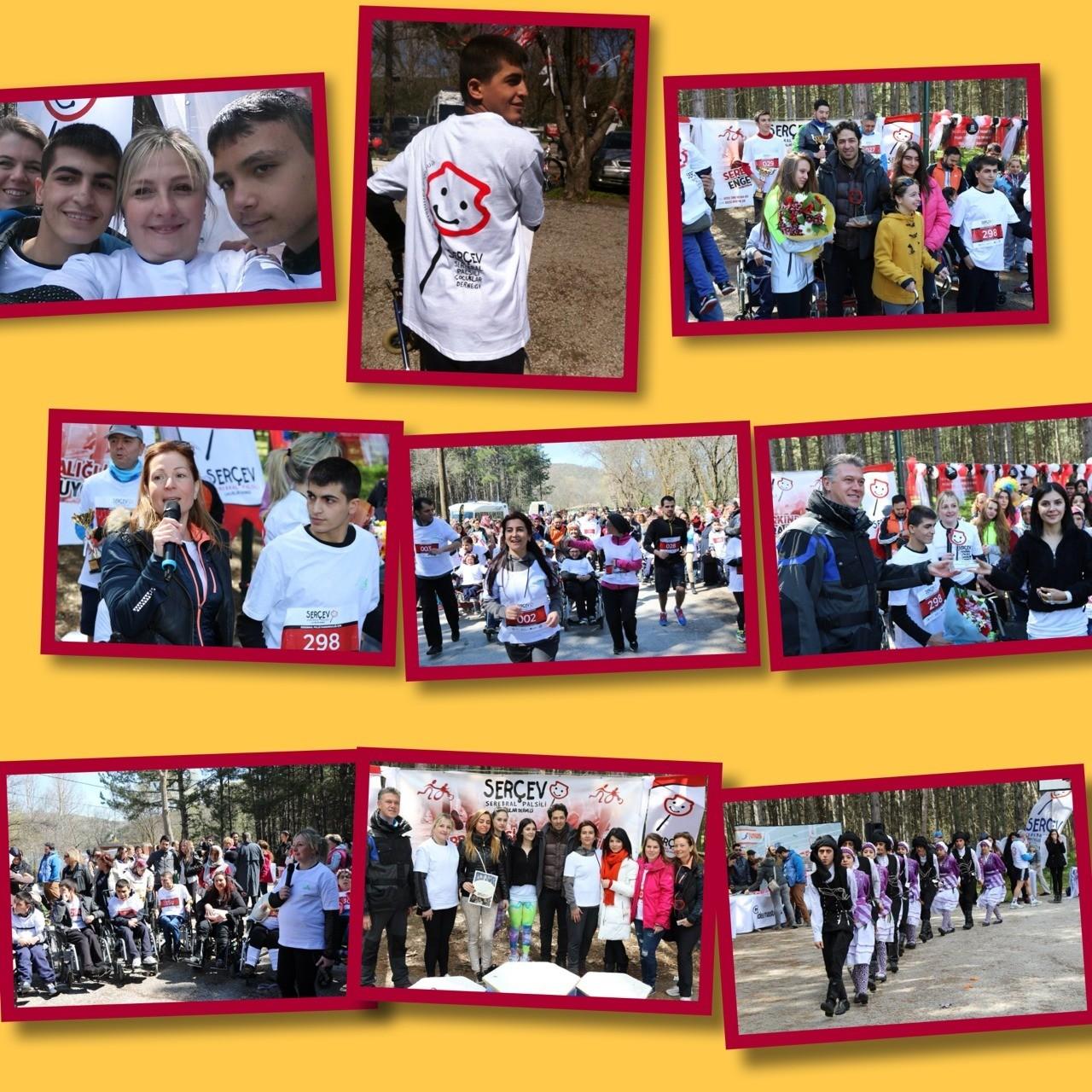SERÇEV ENGELSİZ YARINLARA KOŞTU... Sanatçı Mert Fırat İstanbul'dan gelerek serebral palsi farkındalığı için çocuklarla birlikte koştu.