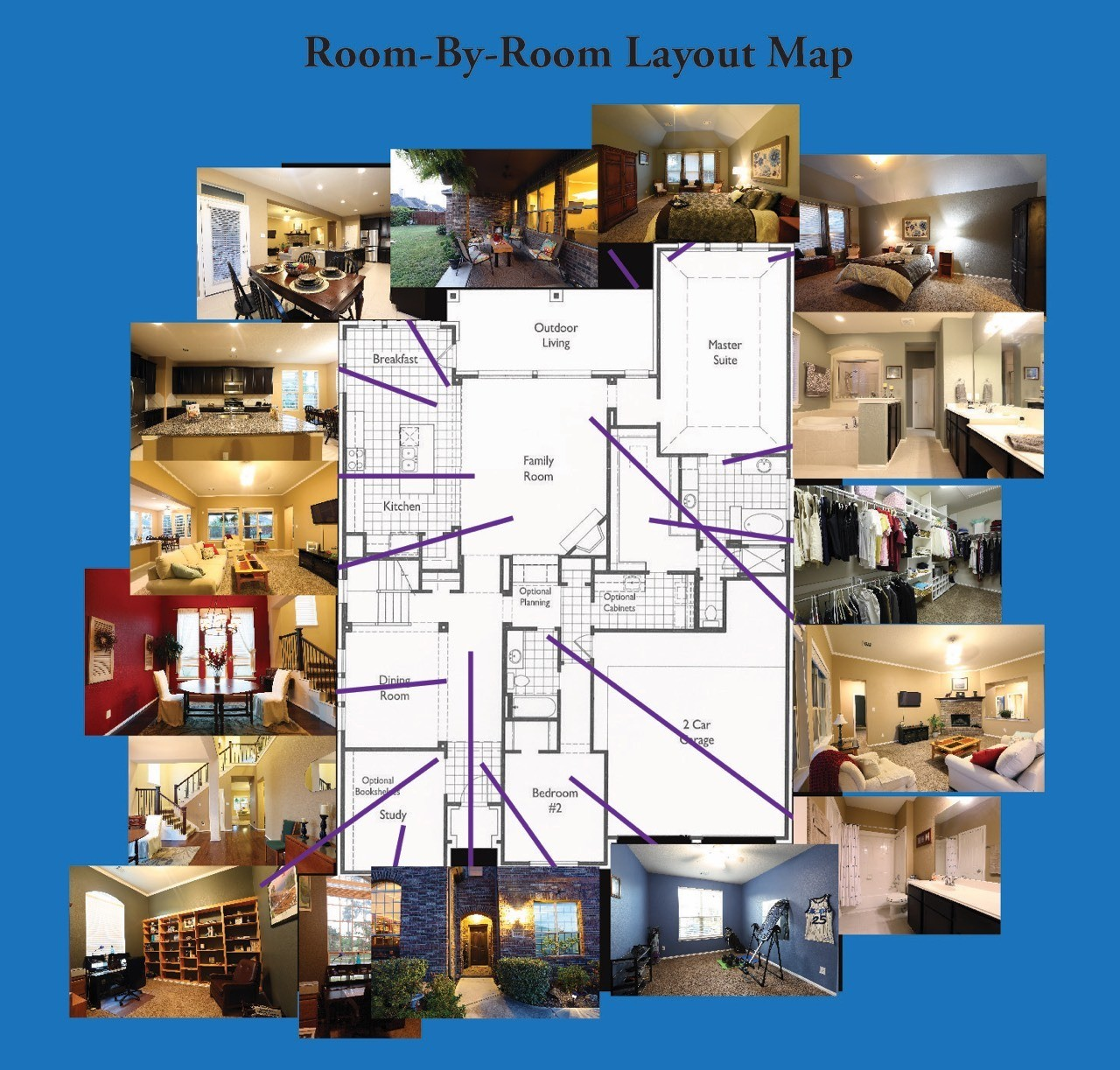 Map of the layout with thumbnails of the rooms. See Picture Gallery magazine for hi-res photos.