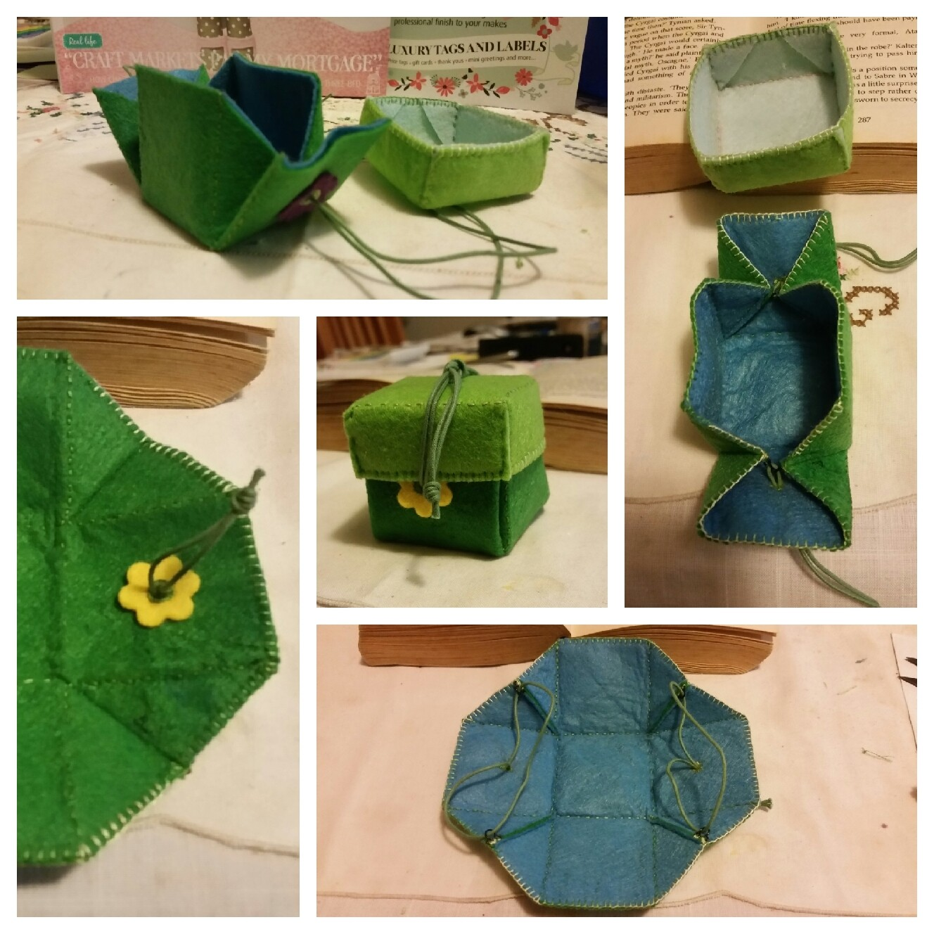 Exploding box made in blue and green felt.