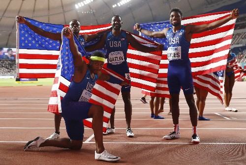 Coleman, Lyles help U.S. end relay gold drought