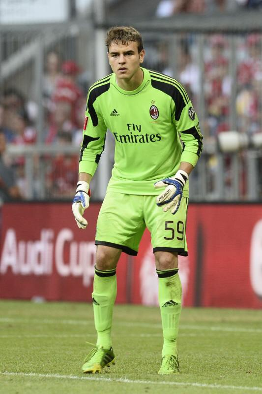 Gabriel Vasconcelos Ferreira (born 27 September 1992), mononymously known as Gabriel (Portuguese: [ɡabɾiˈew]), is a Brazilian footballer who plays as a goalkeeper for Italian side Milan. A product of Cruzeiro's youth system, Gabriel was signed by Milan at the age of 19.[1] He has since spent time both at the club and on various loans. At the international level, Gabriel made a single appearance for the Brazil national team in August 2012. Previously, he was part of the under-23 squad that won the silver medal at the 2012 Summer Olympics in London.