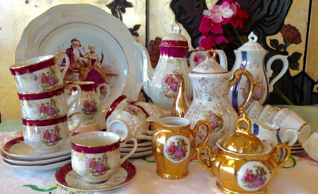 Antique Courting Couples demitasse coffee set in excellent condition. Vintage Garden Party on Facebook.