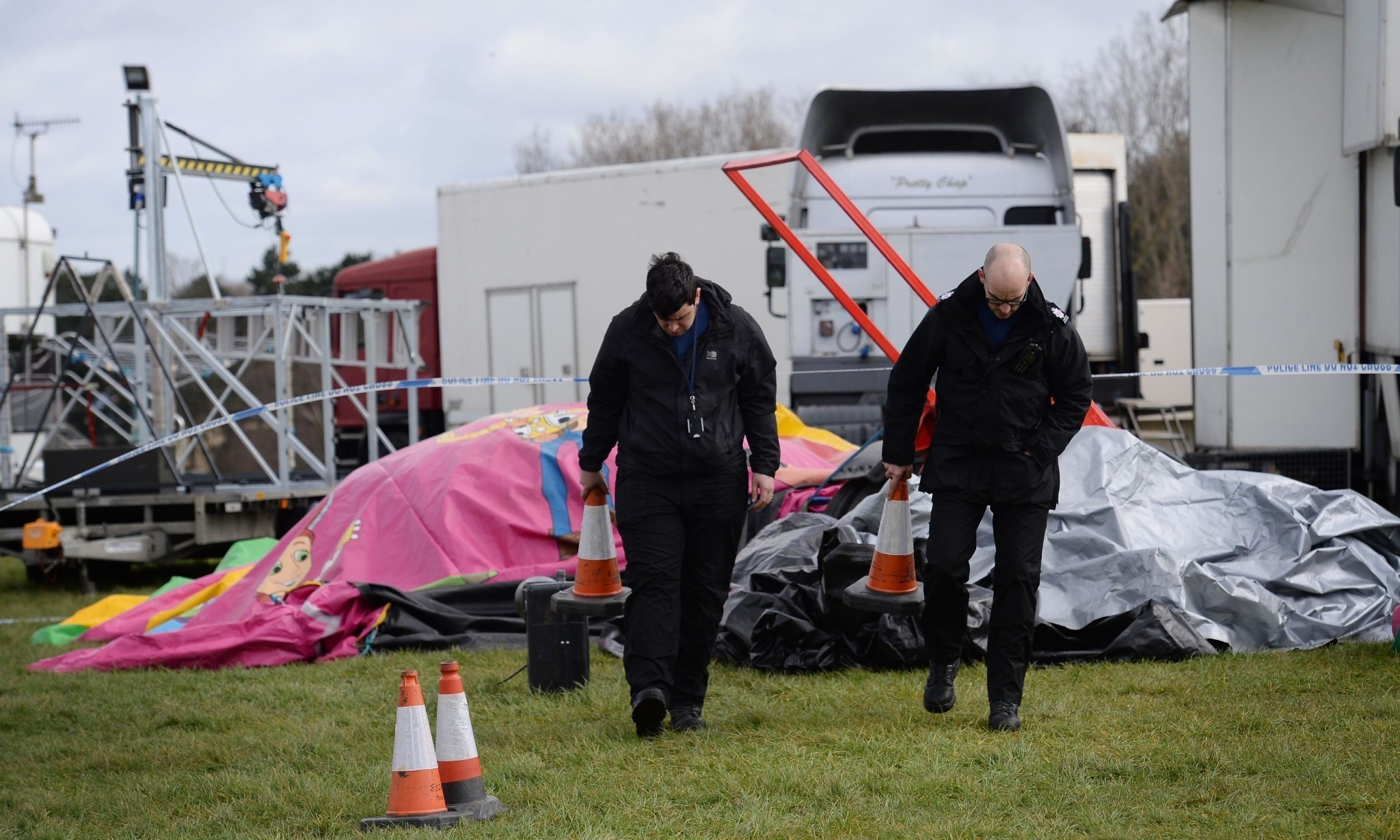 Police investigate girl's death on bouncy castle at Easter fair