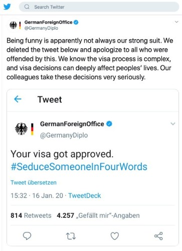 German foreign ministry backtracks after sense of humour failure