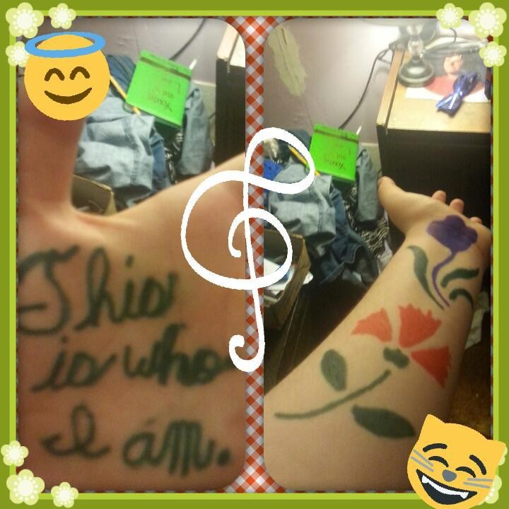 What do you think? I just got bored and drew on my arm pretty cool right? Please comment and let me know... Bye.