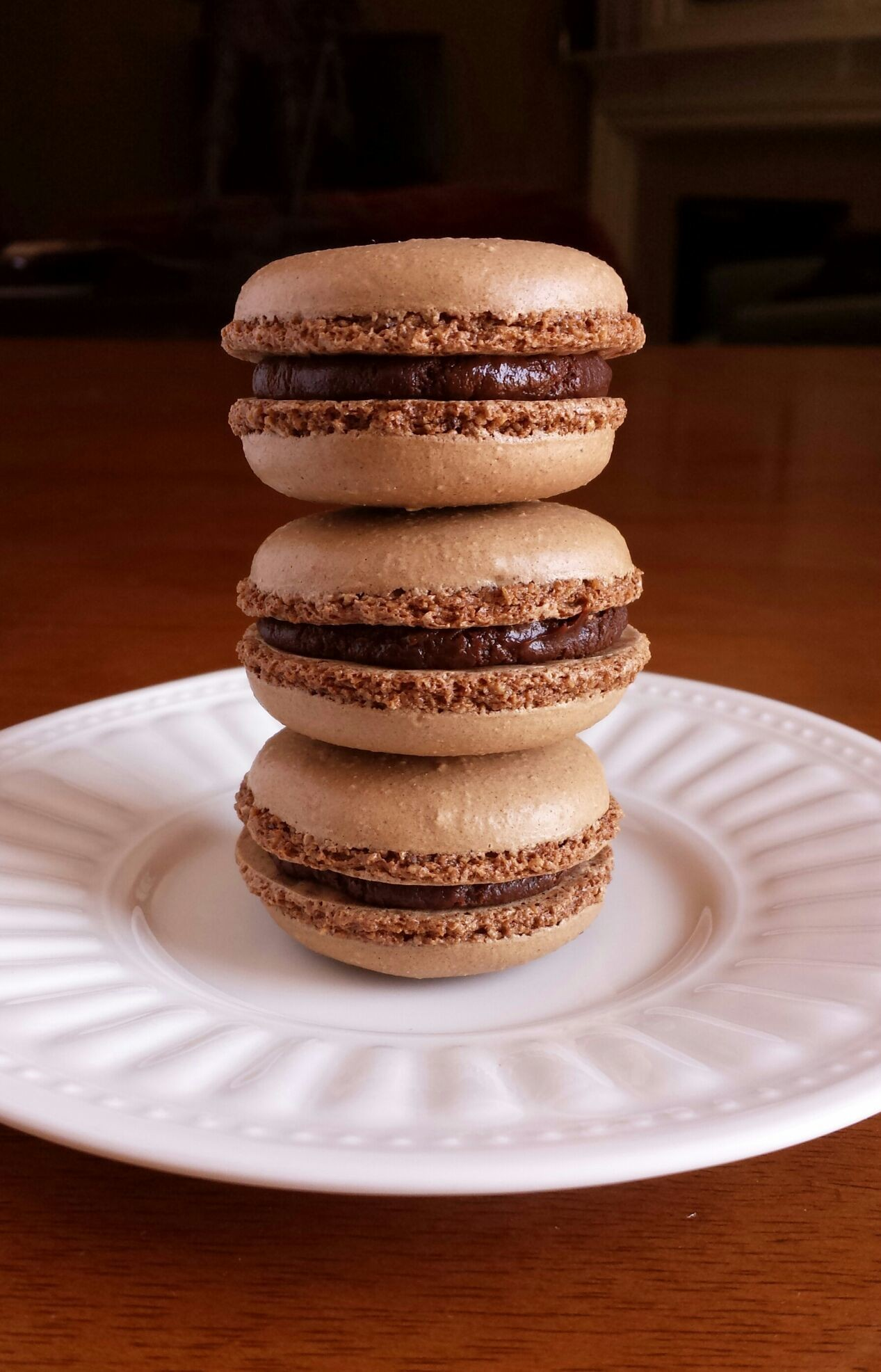 Today's test at Zingerman's BAKE! Chocolate Macarons filled with Salted Caramel Ganache.