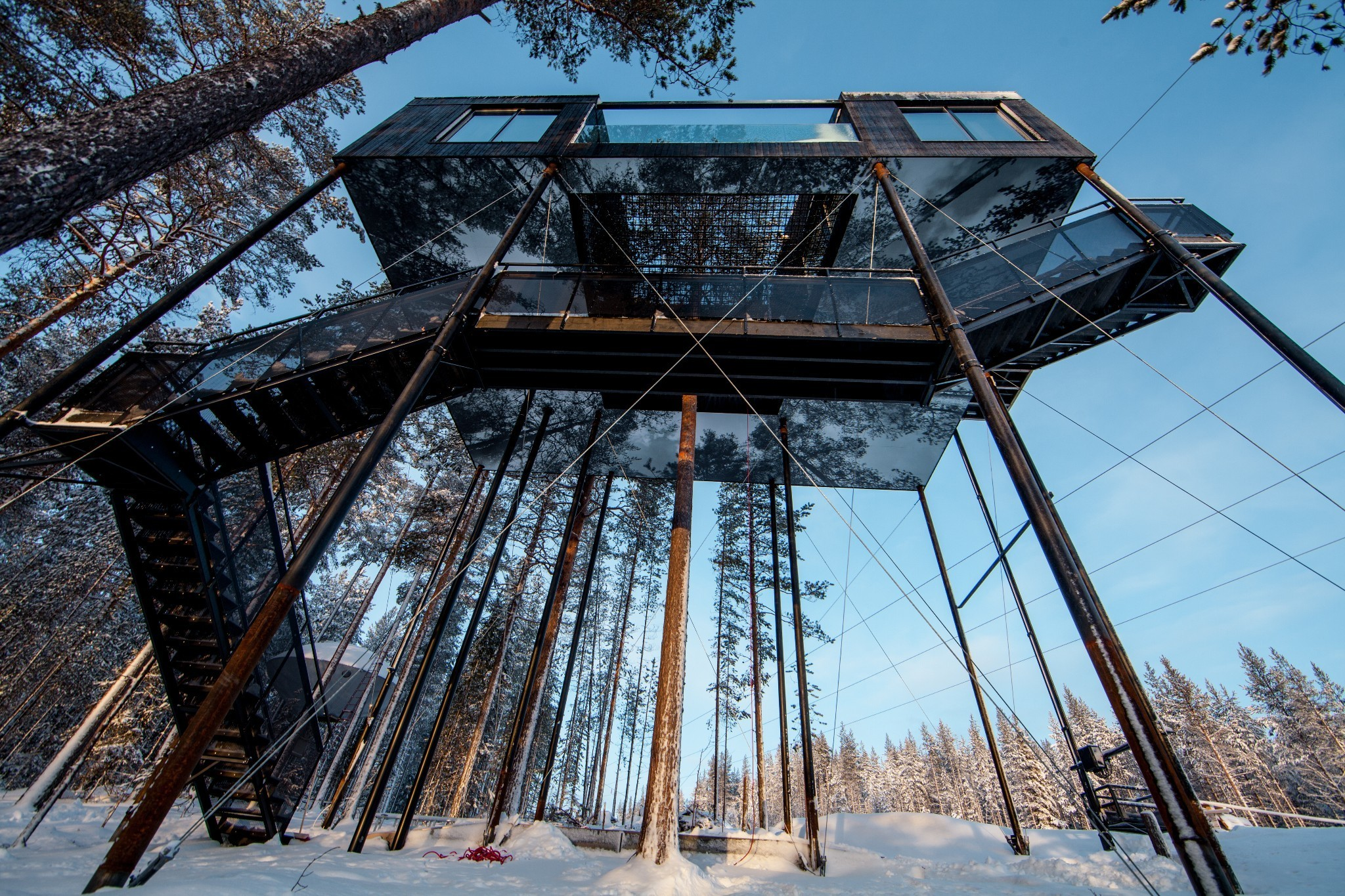 This impressive treetop hotel by Snøhetta 'floats' above a forest floor