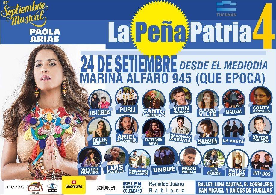 #BuenLunes amigos!! #BuenaSemana #Cartelera #LaPeñaPatria4 Domingo 24 de Septiembre desde el Mediodía en Marina Alfaro 945 #+info en www.Facebook.com/lapeniapatria