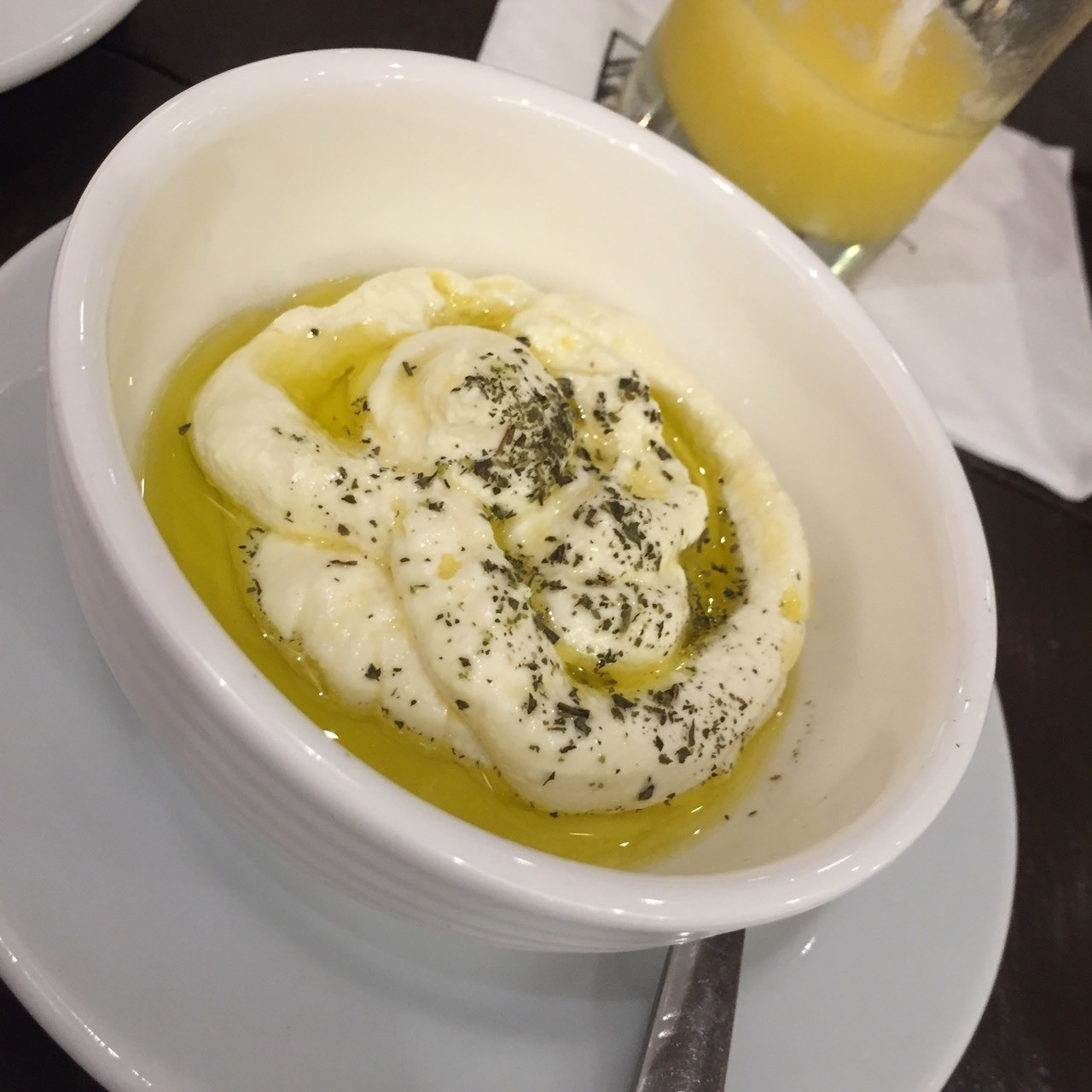 #Labneh - a yoghurt dip with a soft cheese texture. Mom loves this with pita bread and sips of her mango shake.